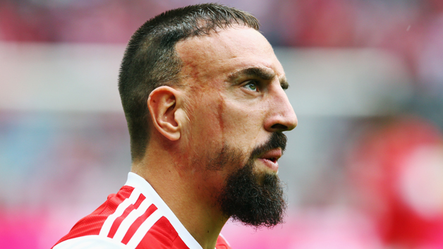 MUNICH, GERMANY - SEPTEMBER 13: Franck Ribery of Muenchen looks on prior to the Bundesliga match between FC Bayern Muenchen and VfB Stuttgart at Allianz Arena on September 13, 2014 in Munich, Germany.  (Photo by Alex Grimm/Bongarts/Getty Images)